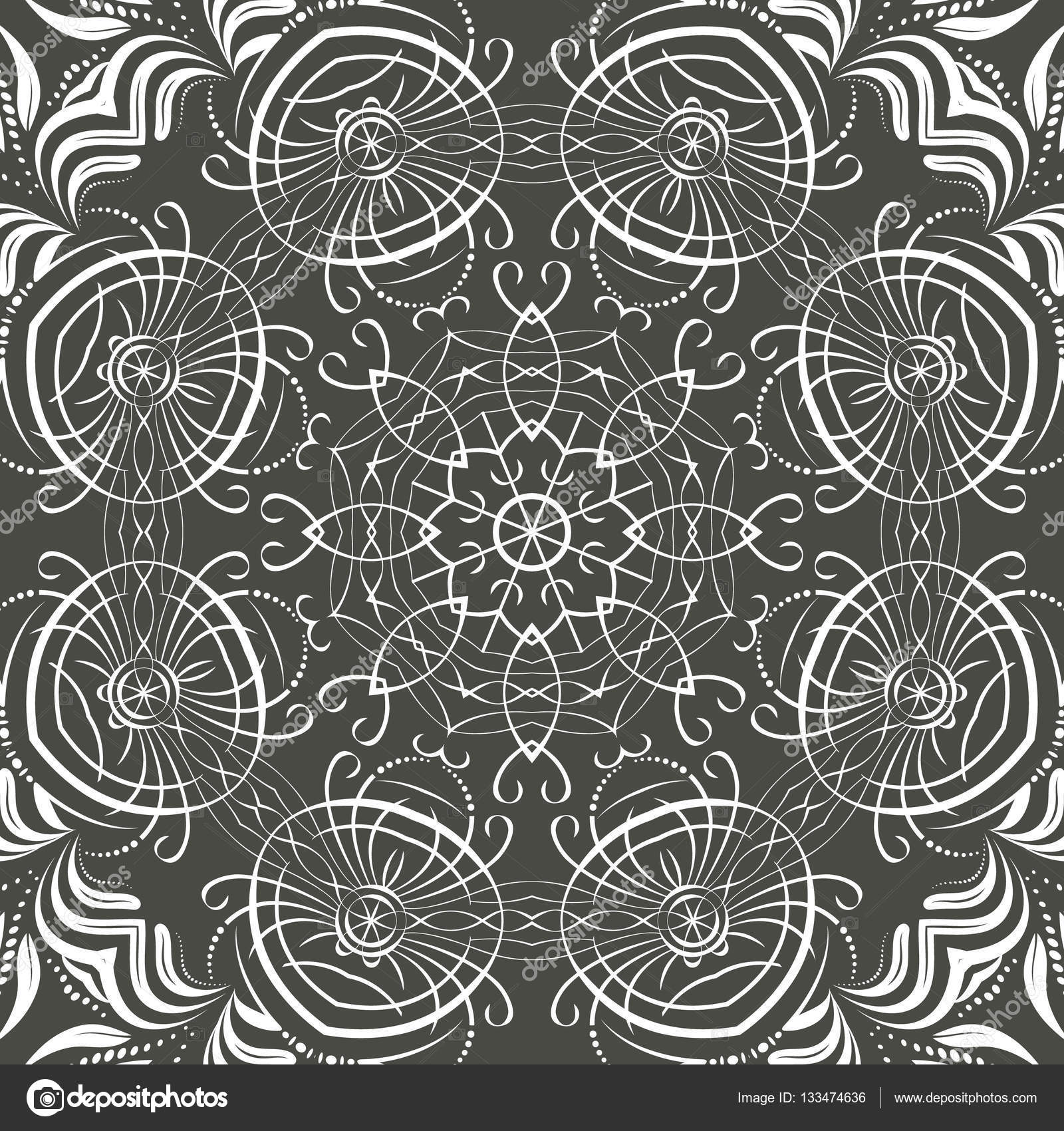 Mandala Seamless Floral Pattern With Flowers And Leaves