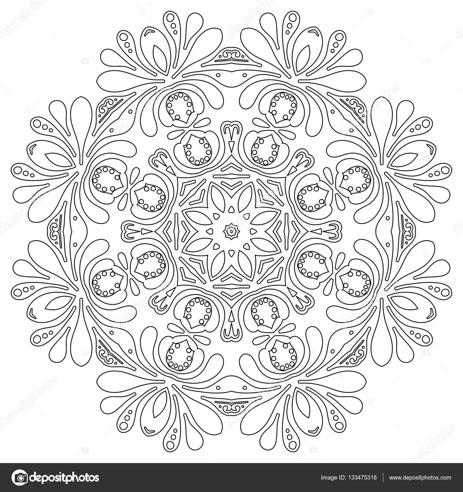 Motif floral de mandala de fleurs et de coeurs. Pages à colorier ...