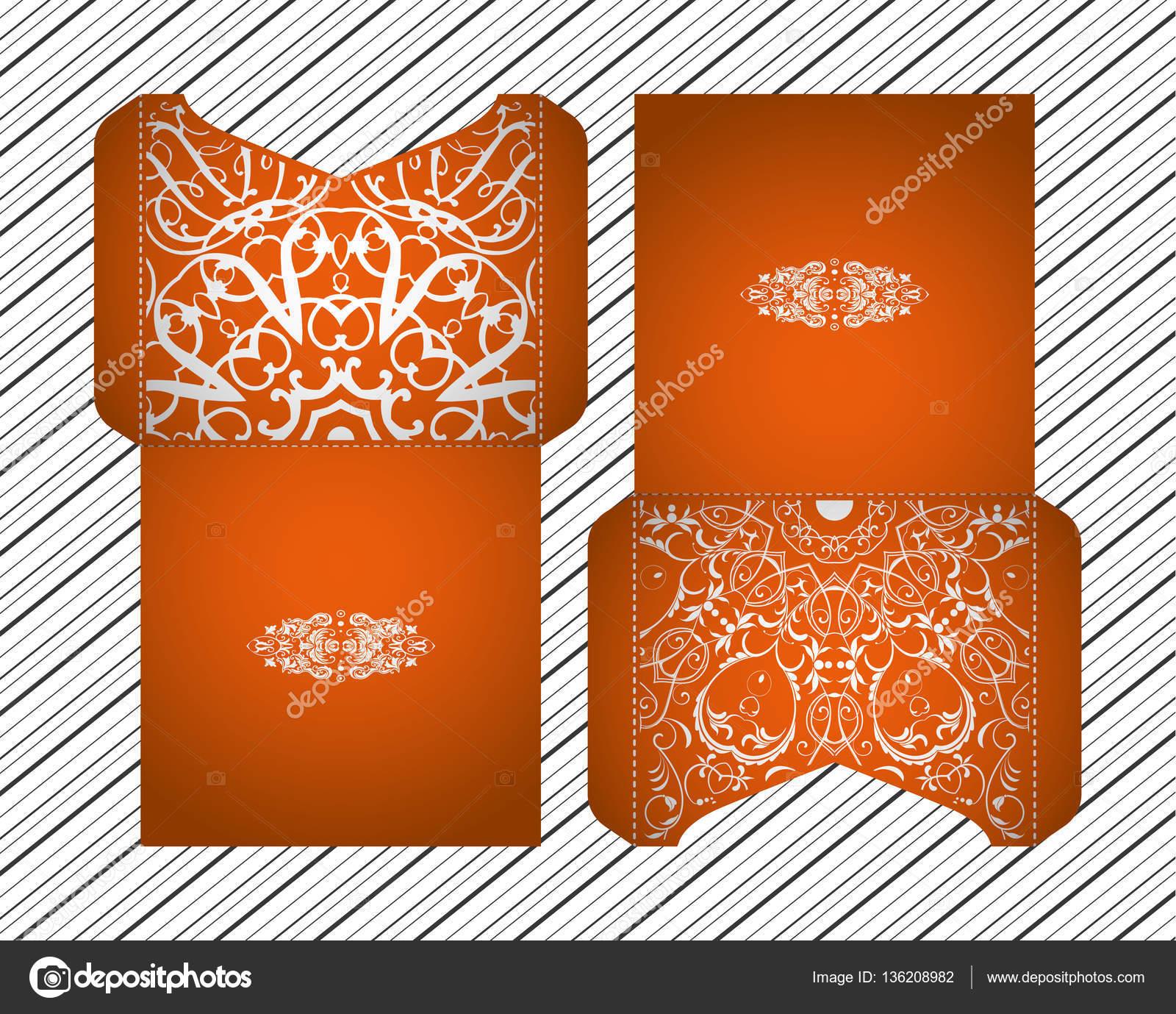 vector wedding invitation with laser cut patterns of the mandala envelope design ethnic style laser cut invitations collection envelopes for laser