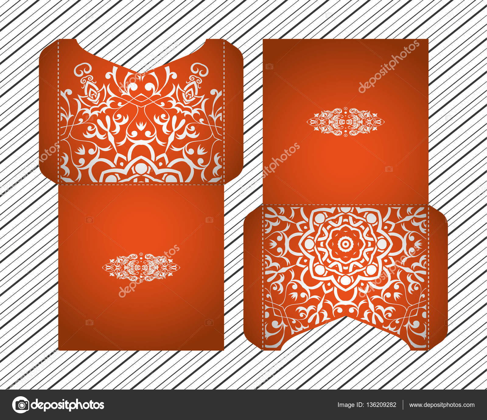 Vector Wedding Invitation Laser Cut Patterns Mandala Envelope Design ...