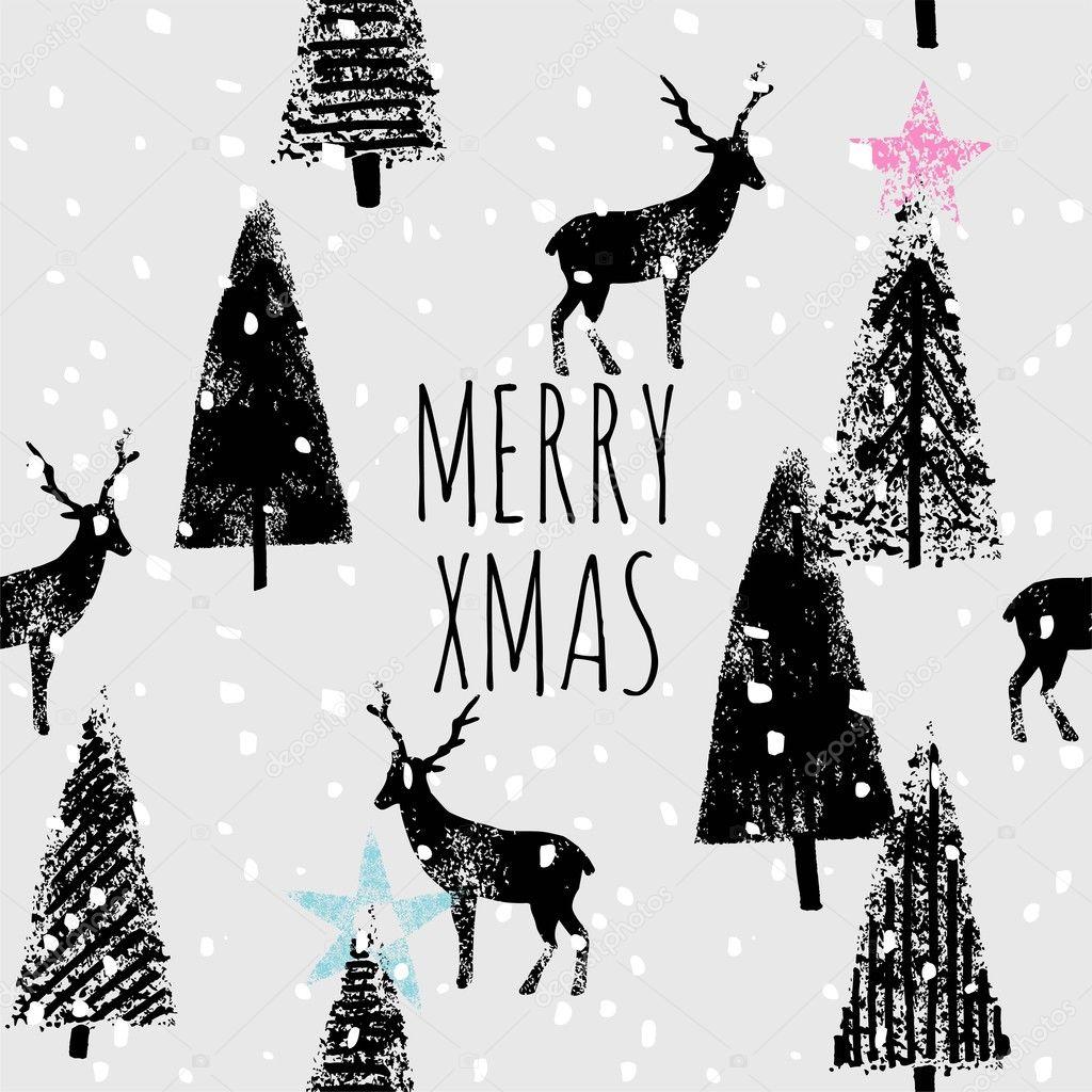 メリー クリスマス手書きトレンディな印刷 \u2014 ストックベクター