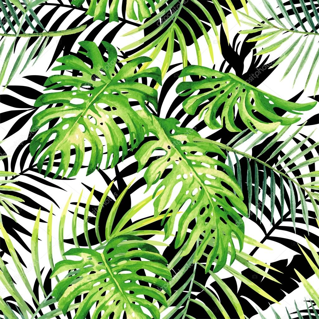 tropical plants watercolor pattern, black and white leaves silho