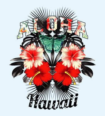 Aloha Hawaii. Pink hibiscus and black leaves mirror illustration
