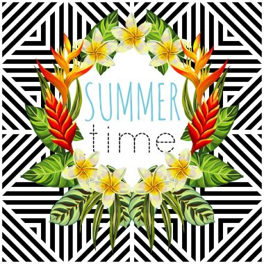 tropical flowers and leaves mirror round, geometric background