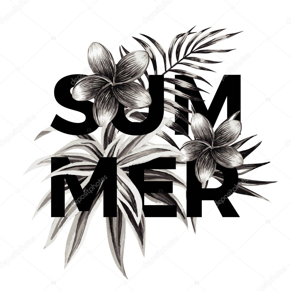 Summer slogan. Black and white floral print