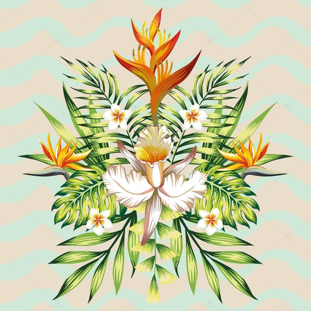 Mirror summer holiday composition from tropical flower and leave