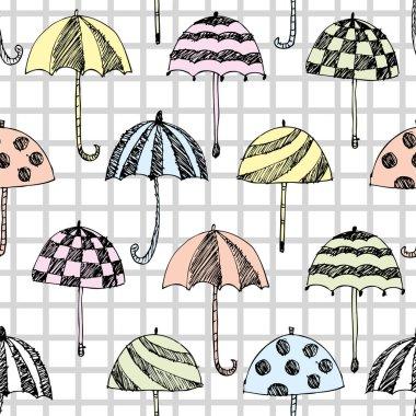 Umbrella sketch pattern, checked seamless background clip art vector