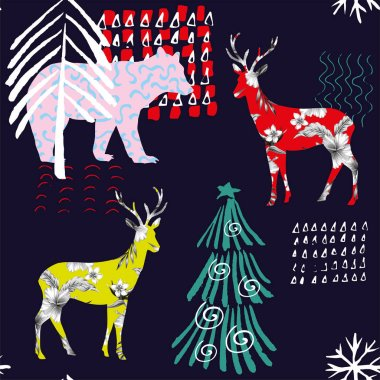 Hand drawn winter animals bear, deer seamless pattern background clip art vector