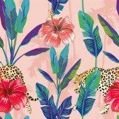 banánlevél hibiscus leopard zökkenőmentes minta rózsaszín palm háttérben