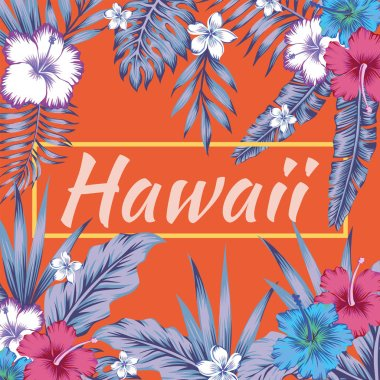 hawaii slogan tropical leaves hibiscus orange background