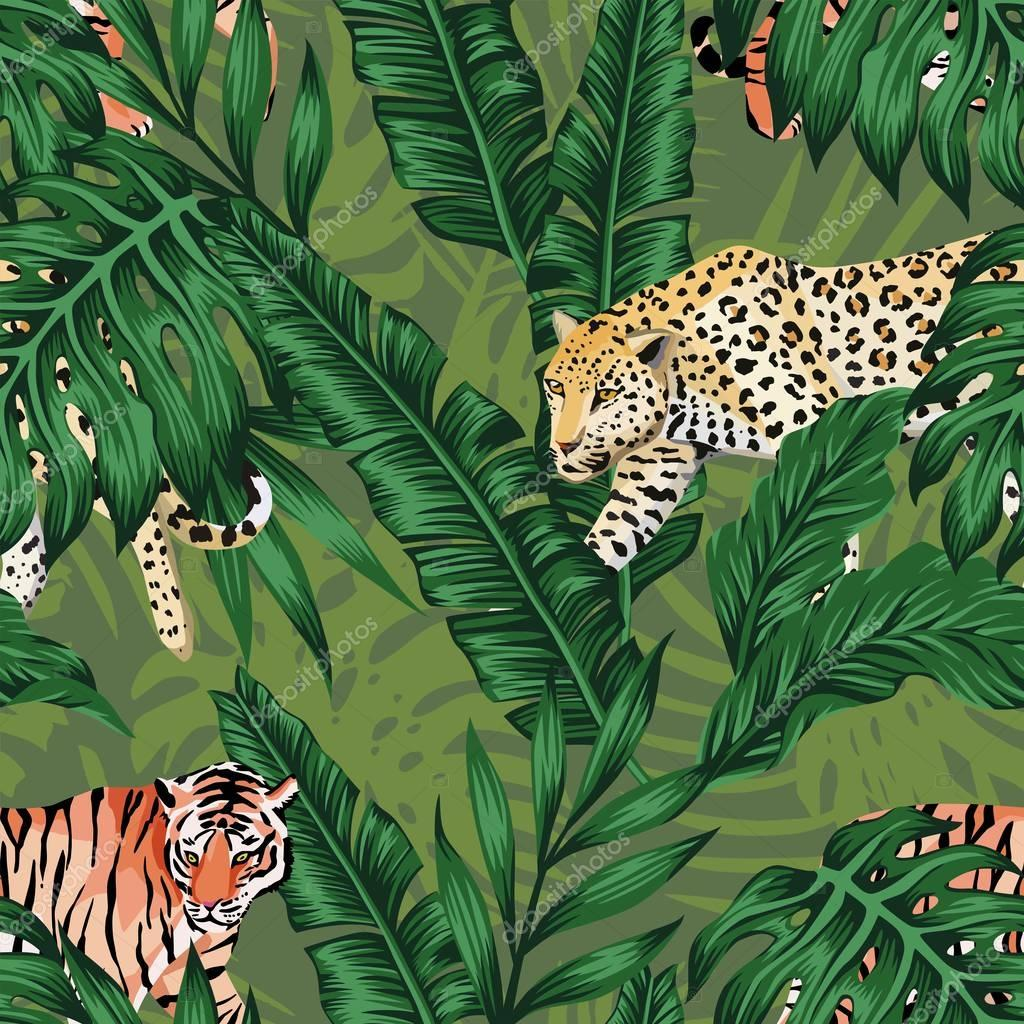 green banana leaves tiger leopard seamless background