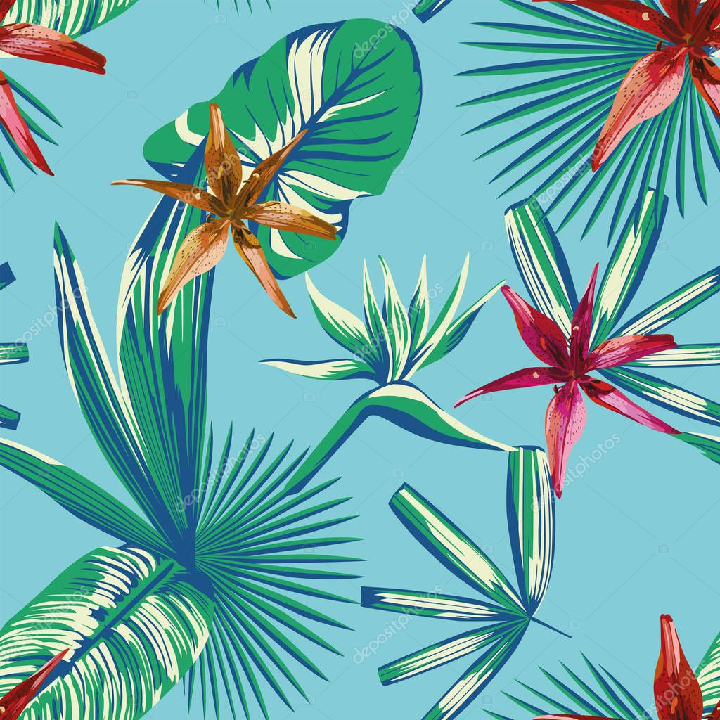 Seamless tropical leaves and flowers blue background