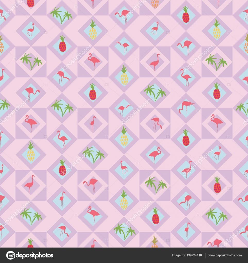 Light Purple Background Flamingo Pineapple Palm Tree Stock Vector