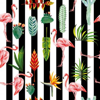 flamingo leaves flowers seamless striped background