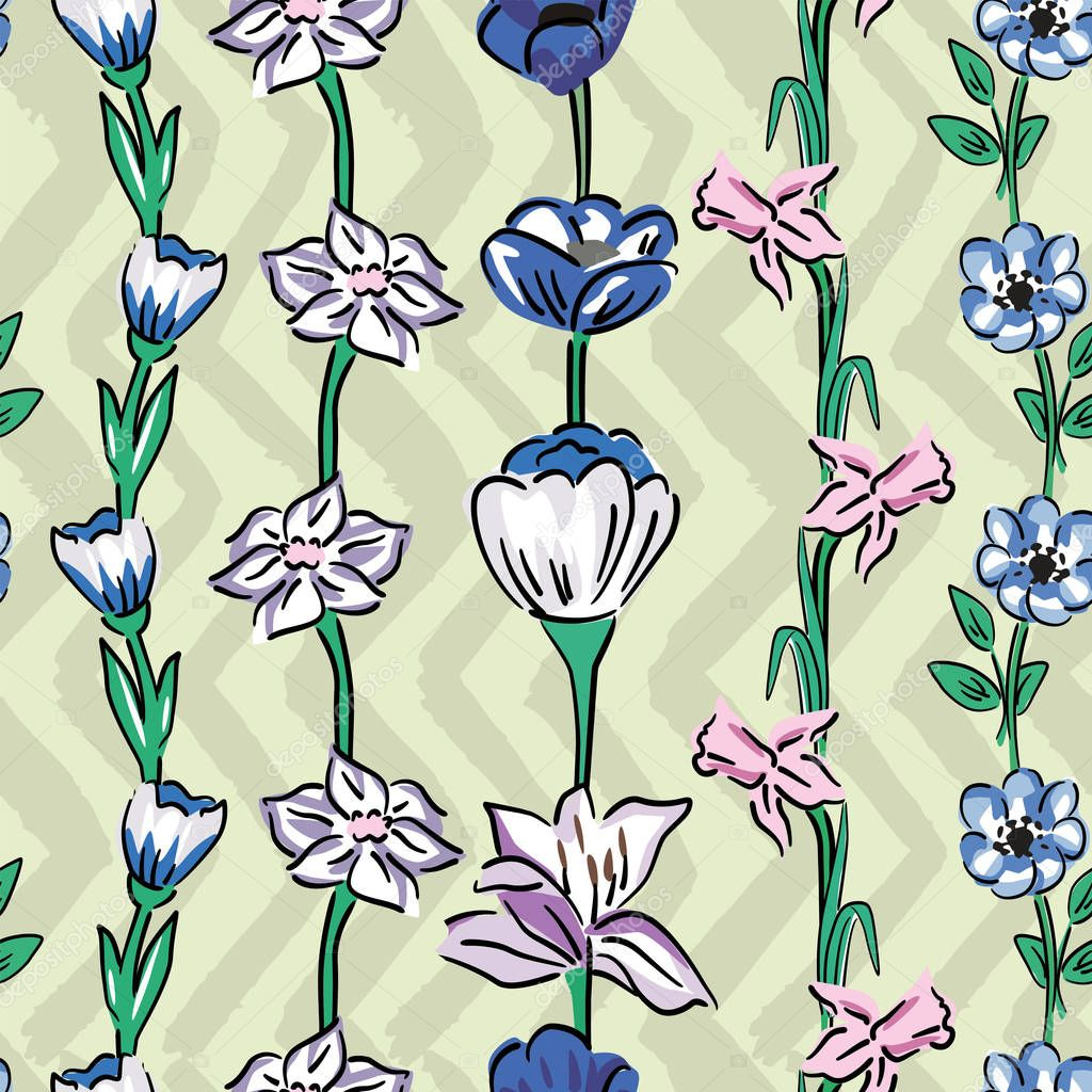 wild flowers seamless pattern zig zag olive sage background