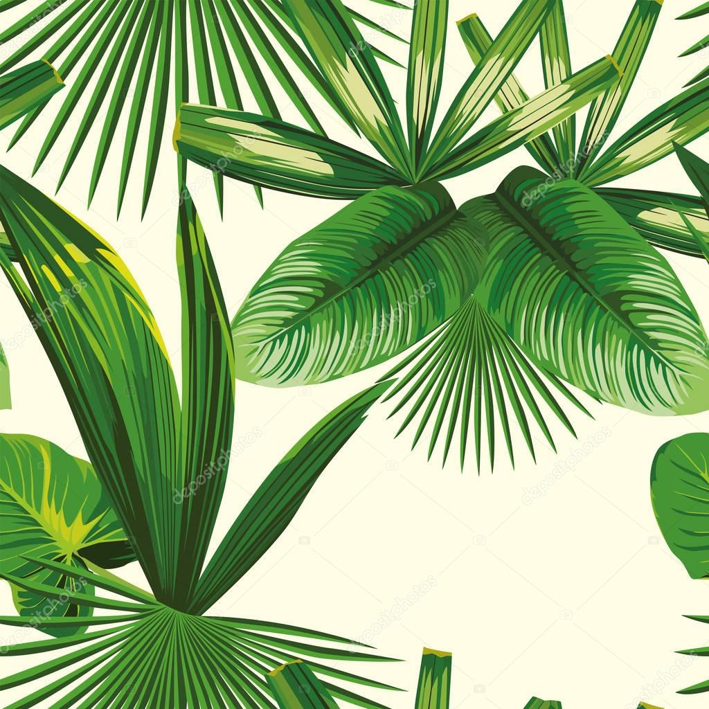 Tropical leaves seamless white background