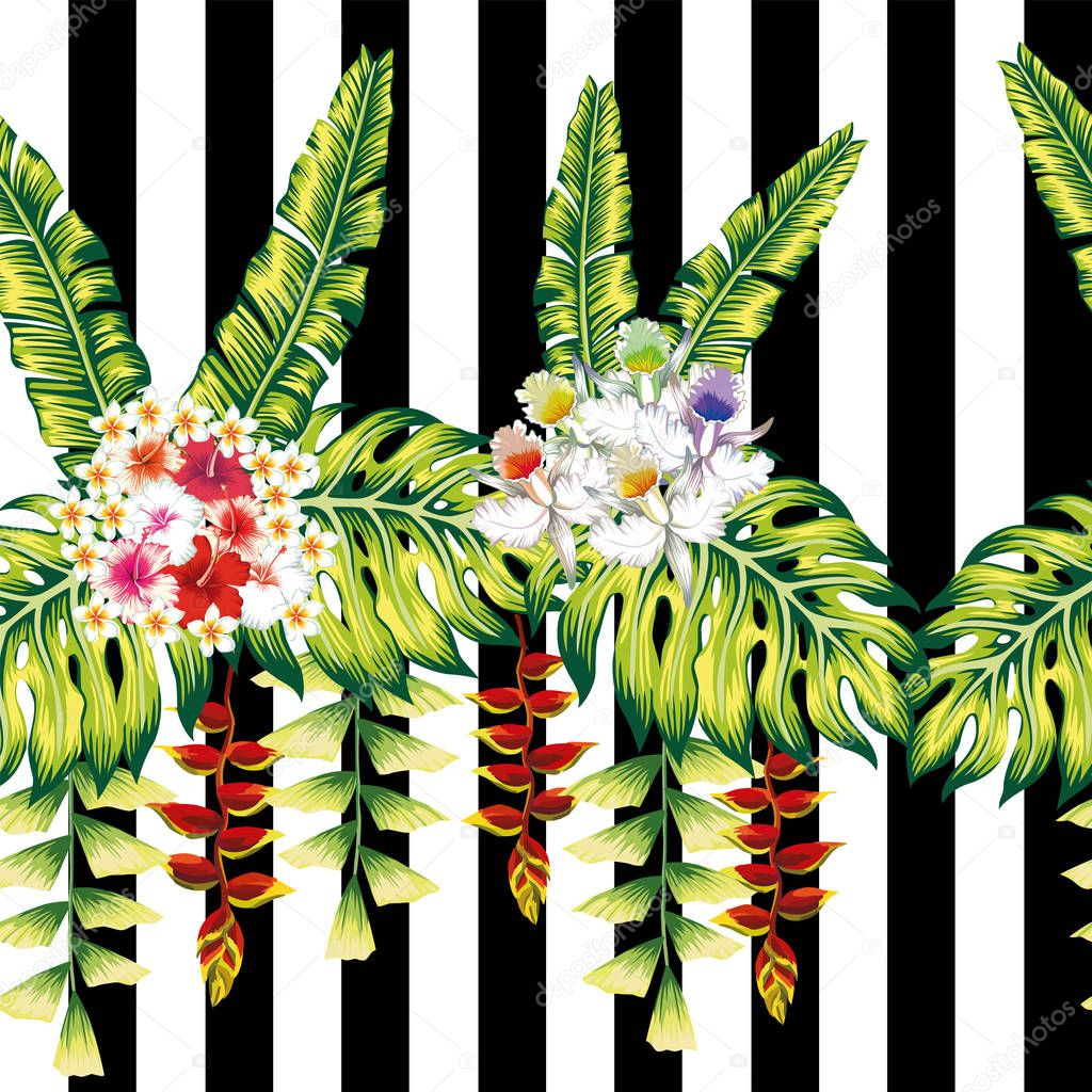 Tropical flowers and leaves seamless black white stripe backgrou