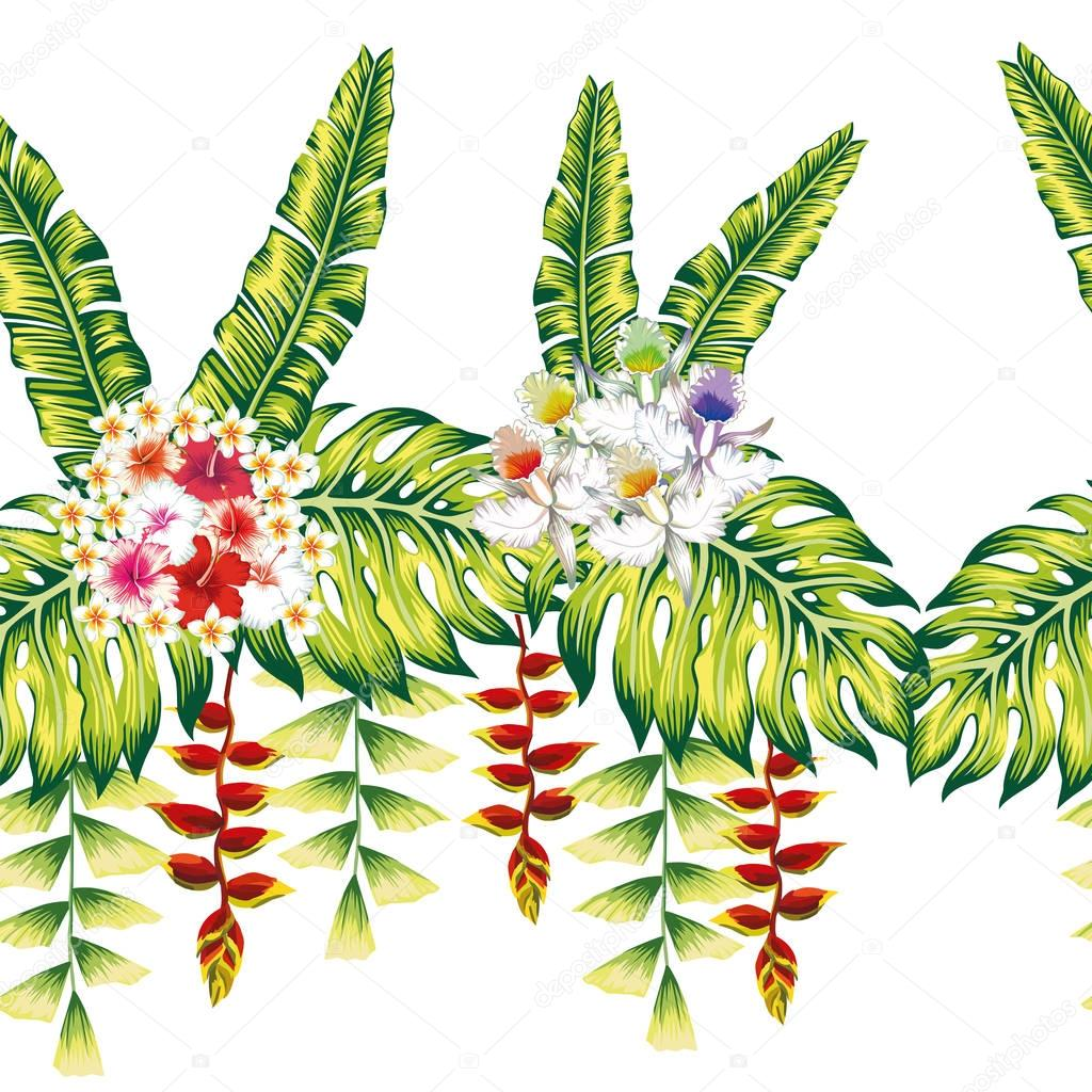 Tropical flowers and leaves seamless white background