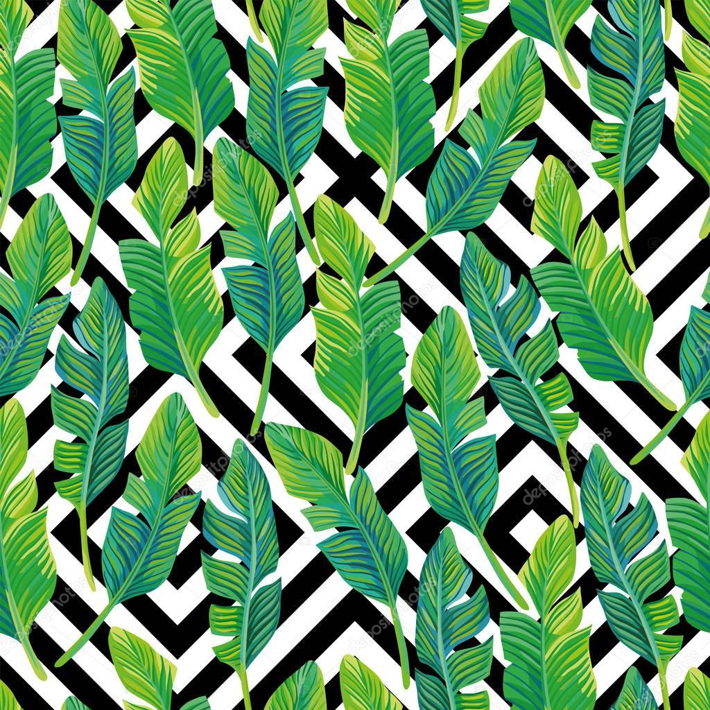 Palm leaves seamless pattern black white geometric background