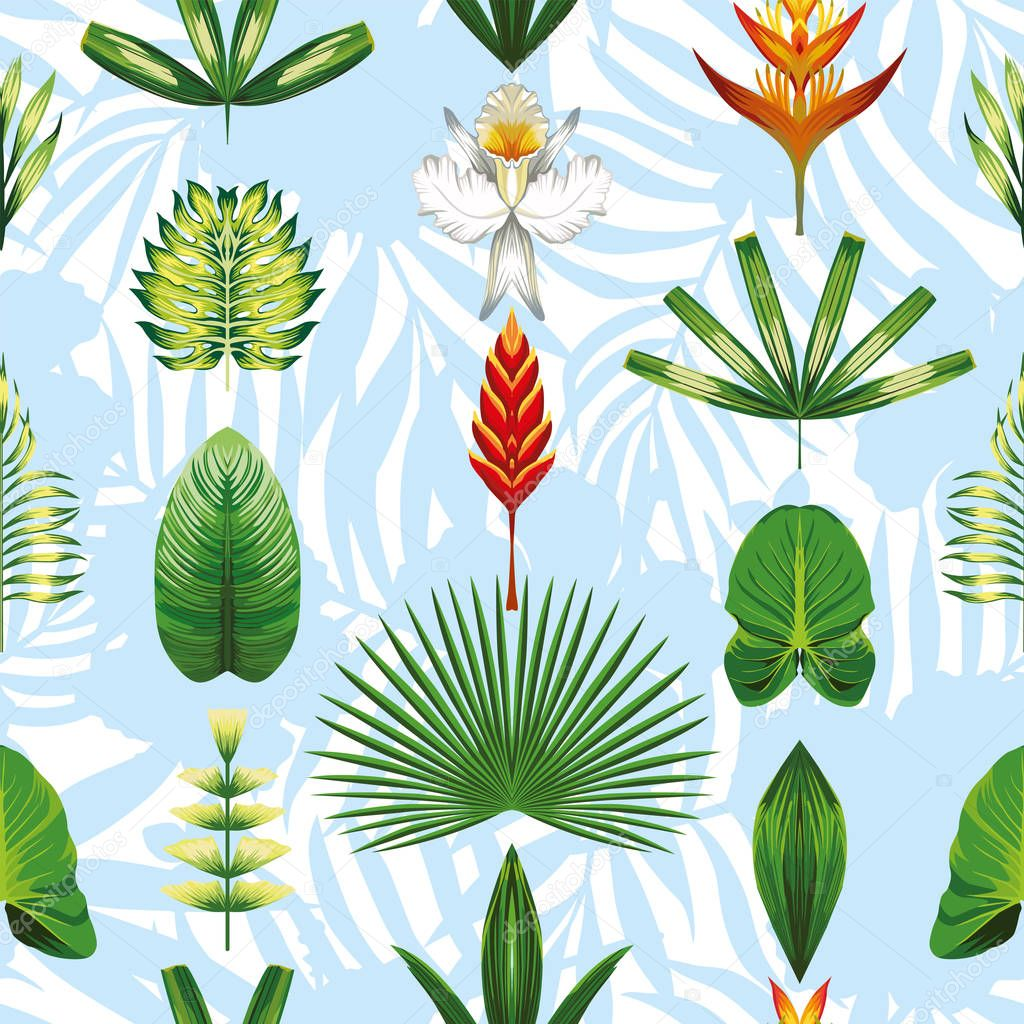 Seamless symmetric tropical flowers and leaves light blue white