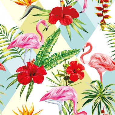 Tropical composition flamingo flowers and plants seamless patter