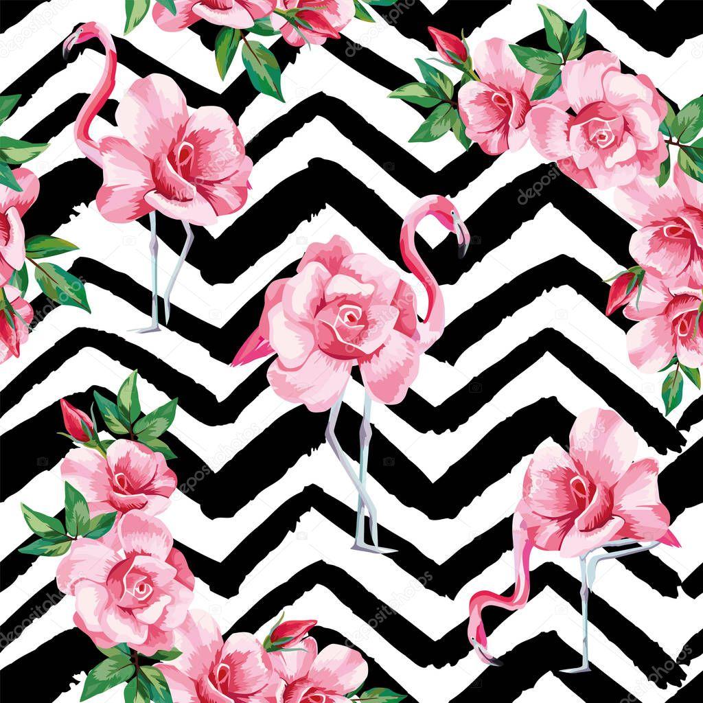 Flamingo roses seamless pattern black white zigzag background