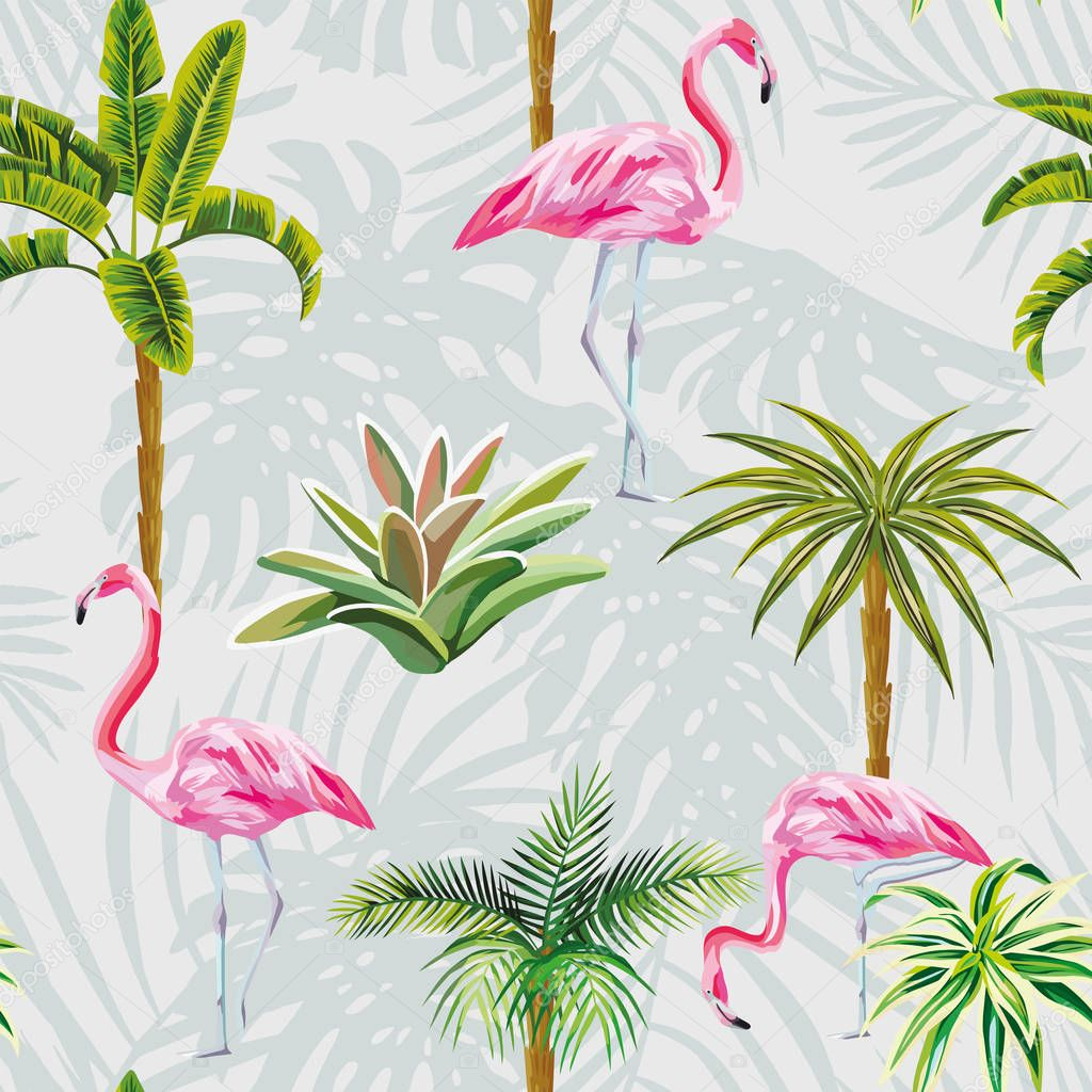 Flamingo palm trees cactus seamless grey background with leaves
