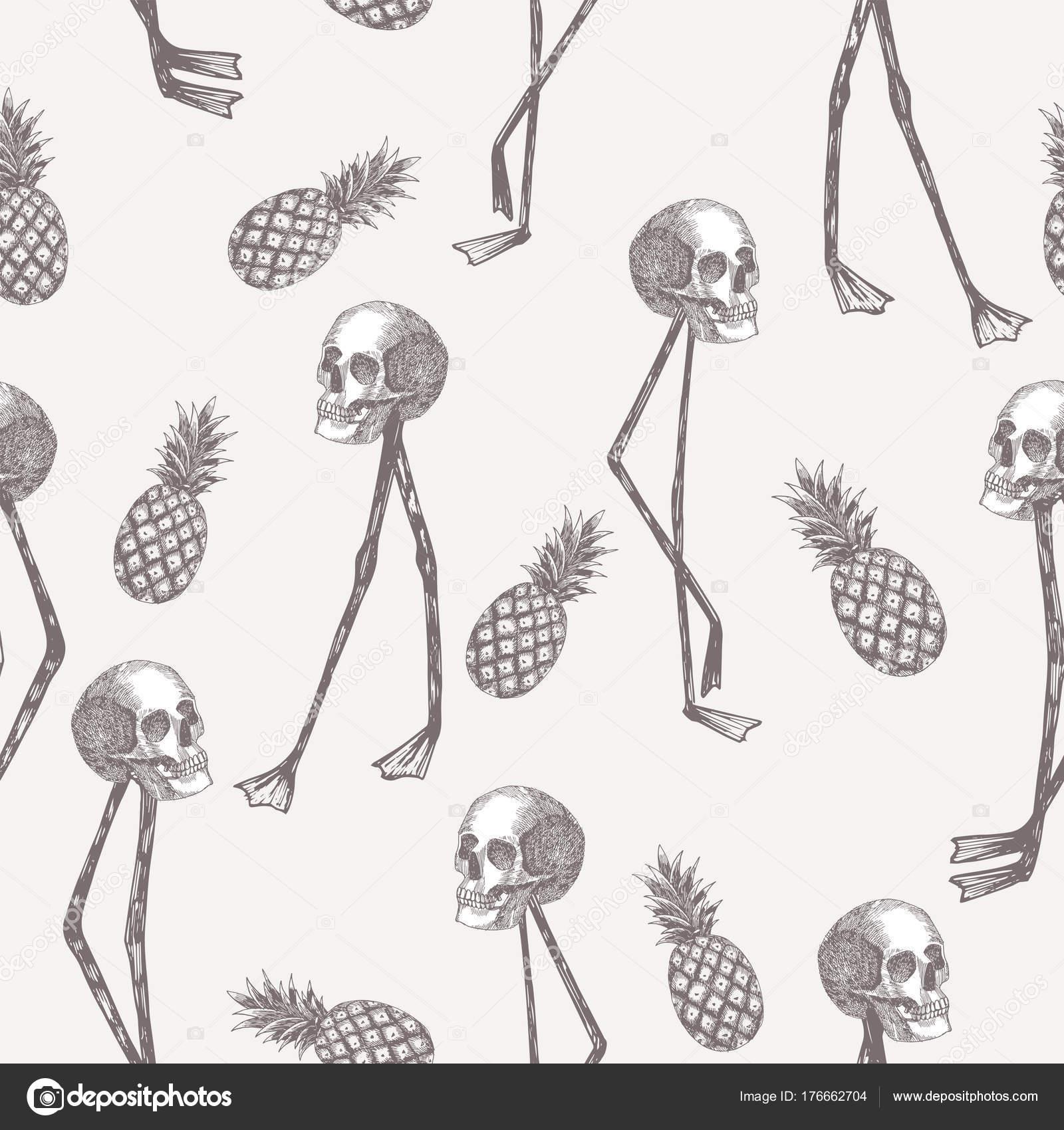 Totenkopf auf Flamingo Beine Ananas in Bleistift weißen Hintergrund ...