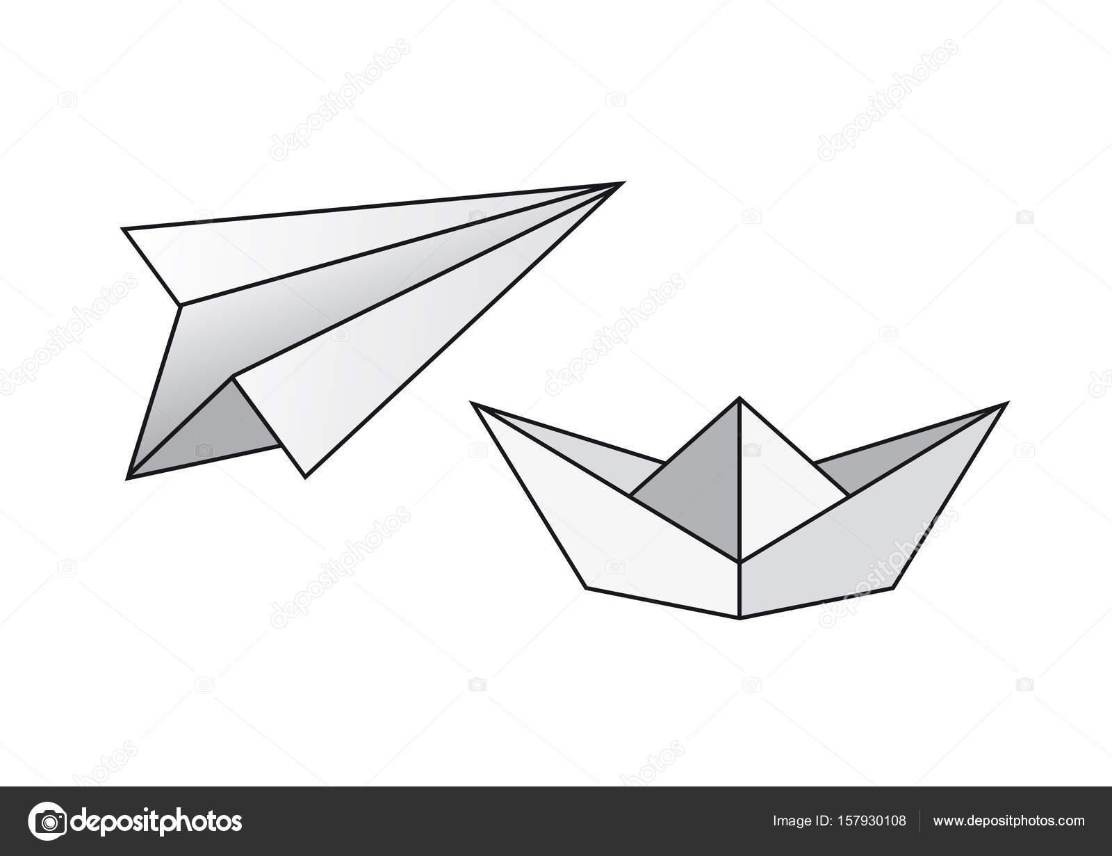 Papier-Boot-Vektor. Papier Flugzeug Vektor — Stockvektor © Betka82 ...