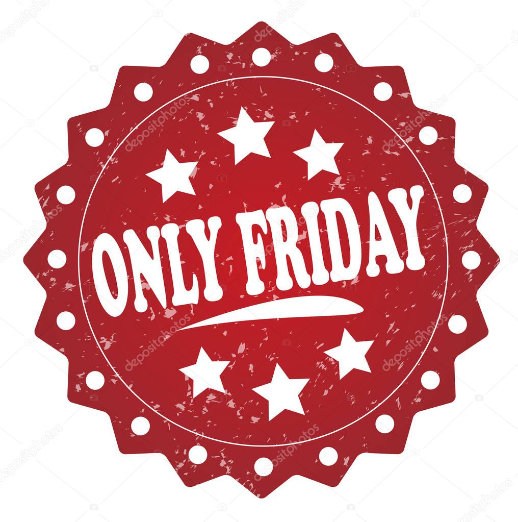 only friday red grunge stamp on white background