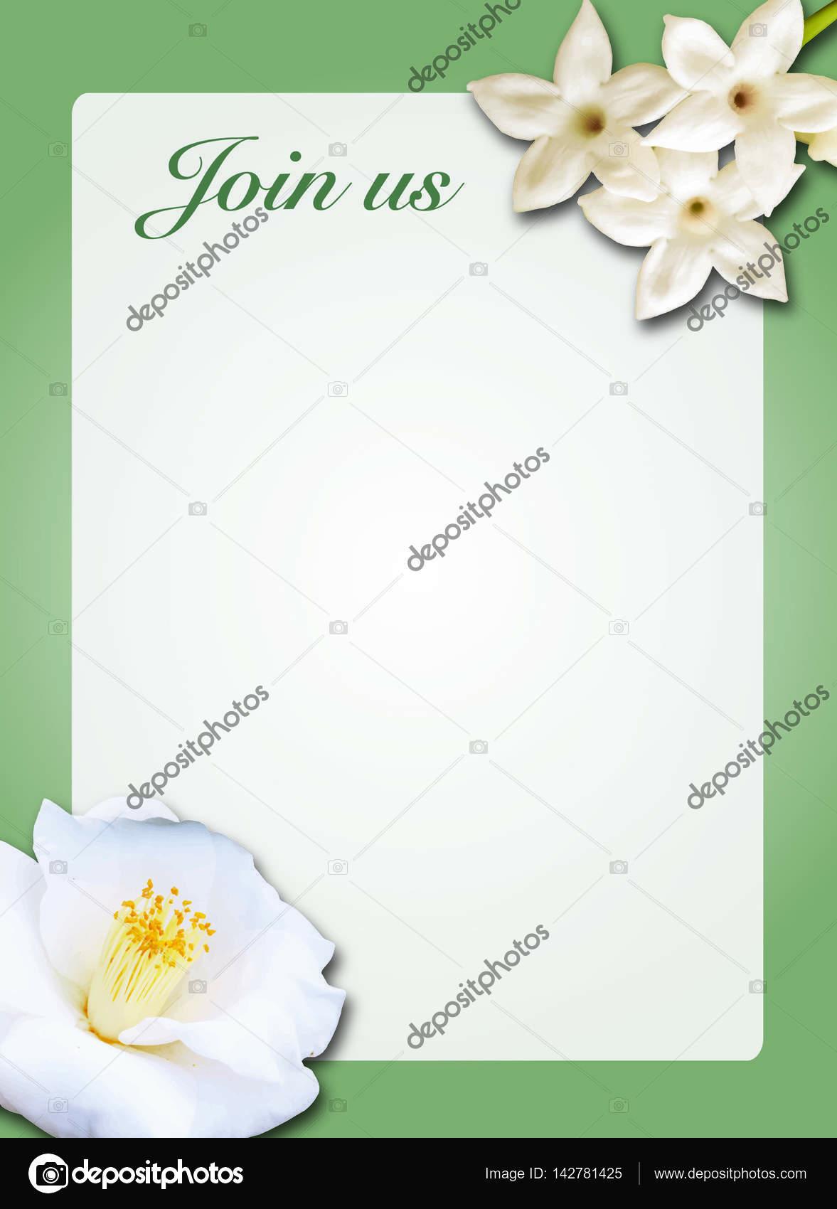 Plantilla de illustrator de invitación de flor de Camelia — Fotos de ...