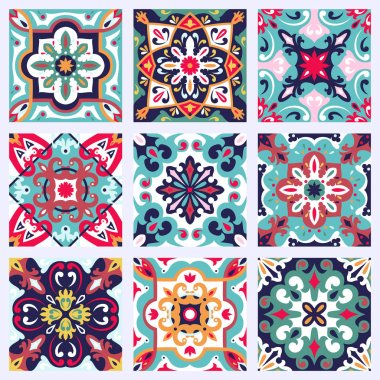 Set with Beautiful seamless ornamental tile background. Vector illustration can be used for desktop wallpaper or frame for a wall hanging or poster,for pattern fills, surface textures, textile. clip art vector