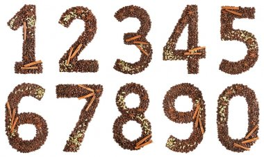 collage digits from coffee beans and species isolated on white background
