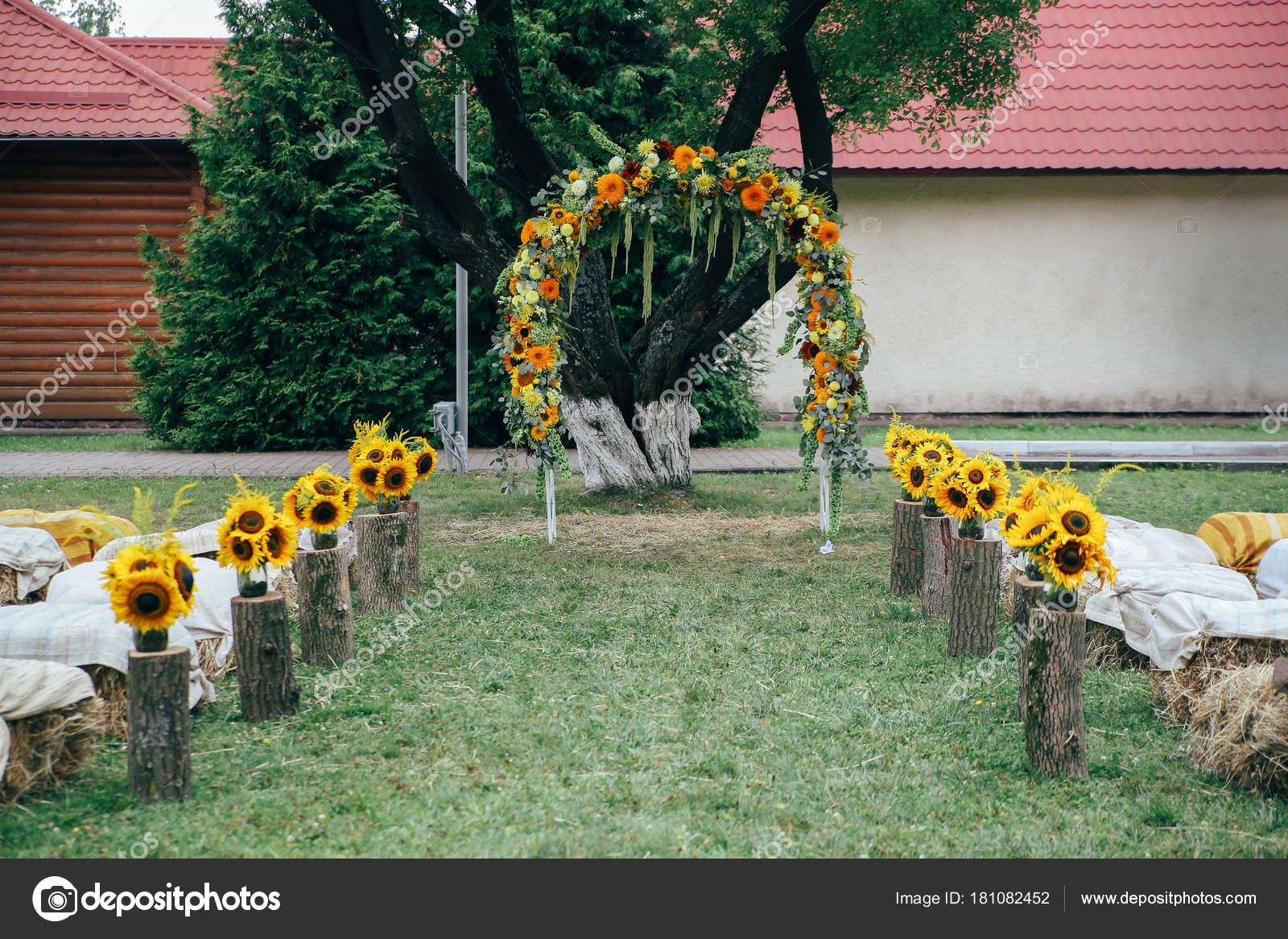 Rustic Arch For Wedding | Floral Rustic Arch Wedding Ceremony Sunflowers Wooden Decorations
