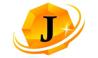 Diamond Swoosh Initial J