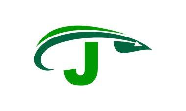 Swoosh Leaf Initial J