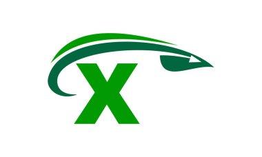 Swoosh Leaf Initial X