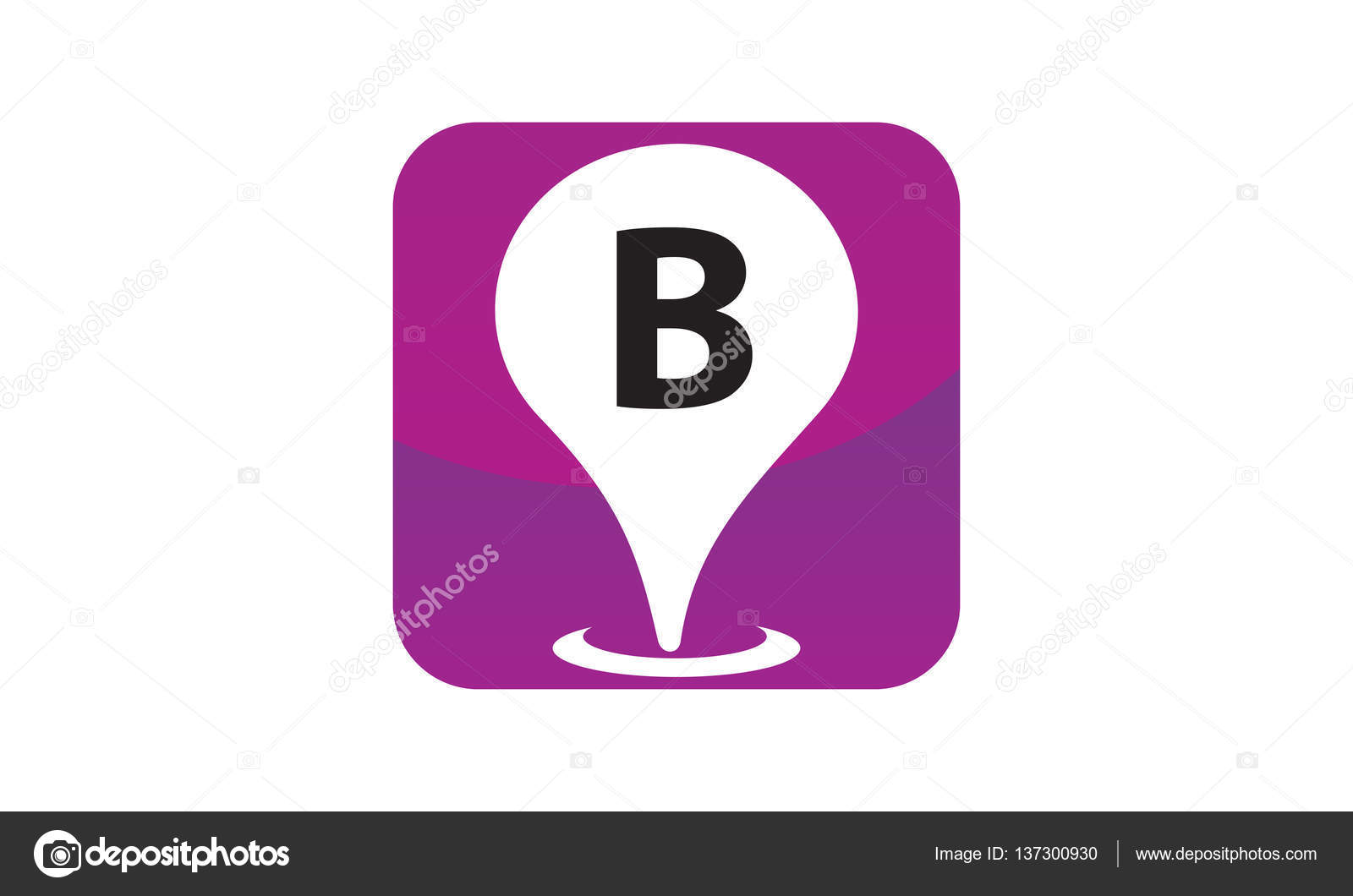 B Stock Solutions location search solutions initial b — stock vector