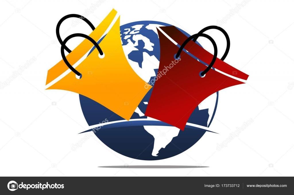 Shopping Online Logo Design Template Vettoriale Vettoriali Stock