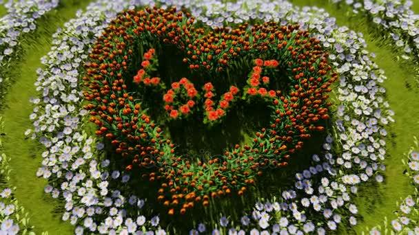 Různé květy ve tvaru srdce na zelené louce, jako symbol lásky a den svatého Valentýna.
