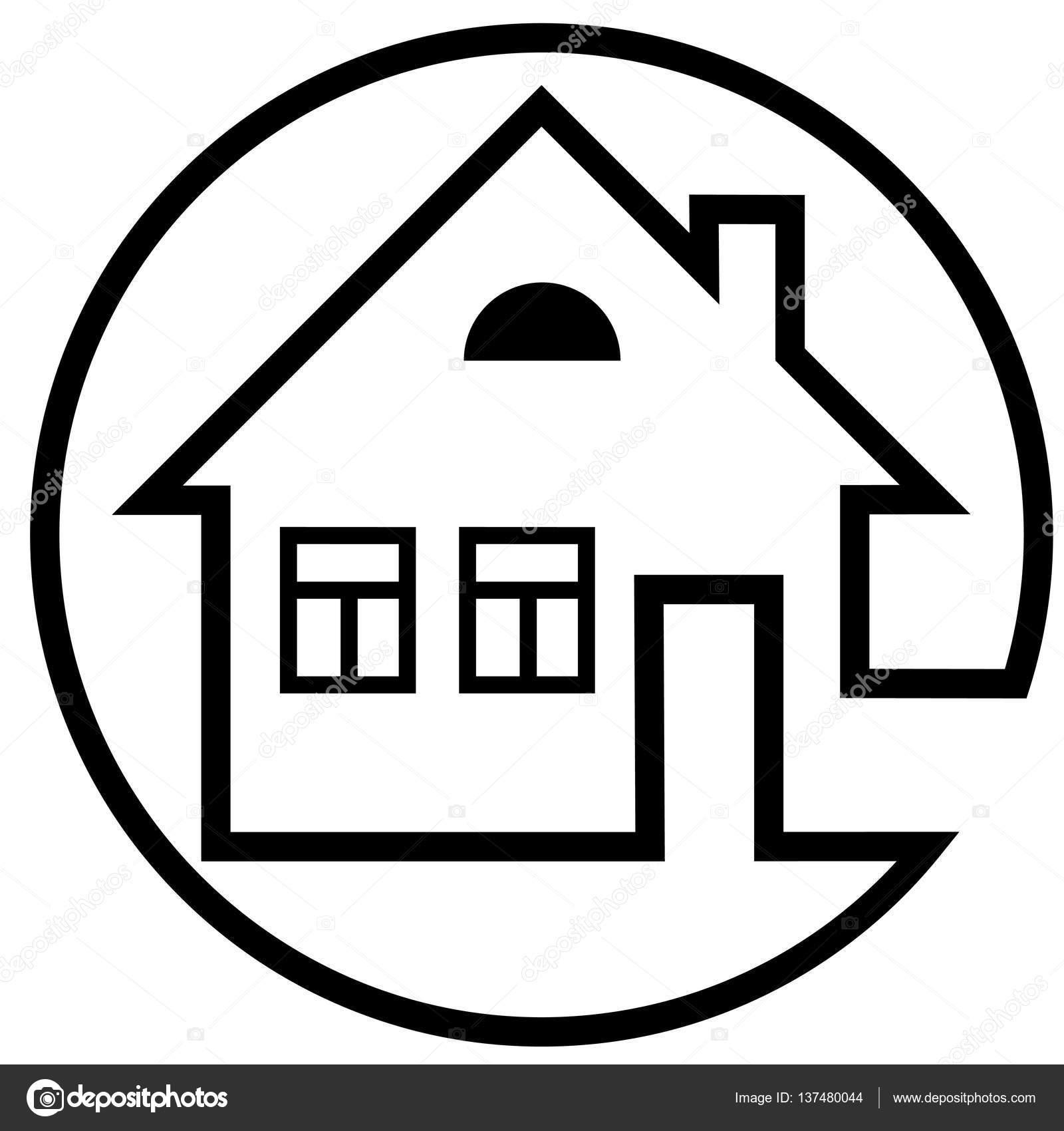Rundes Symbol Haus Mit Kamin Und Windows Mit Schwarzer Umrandung