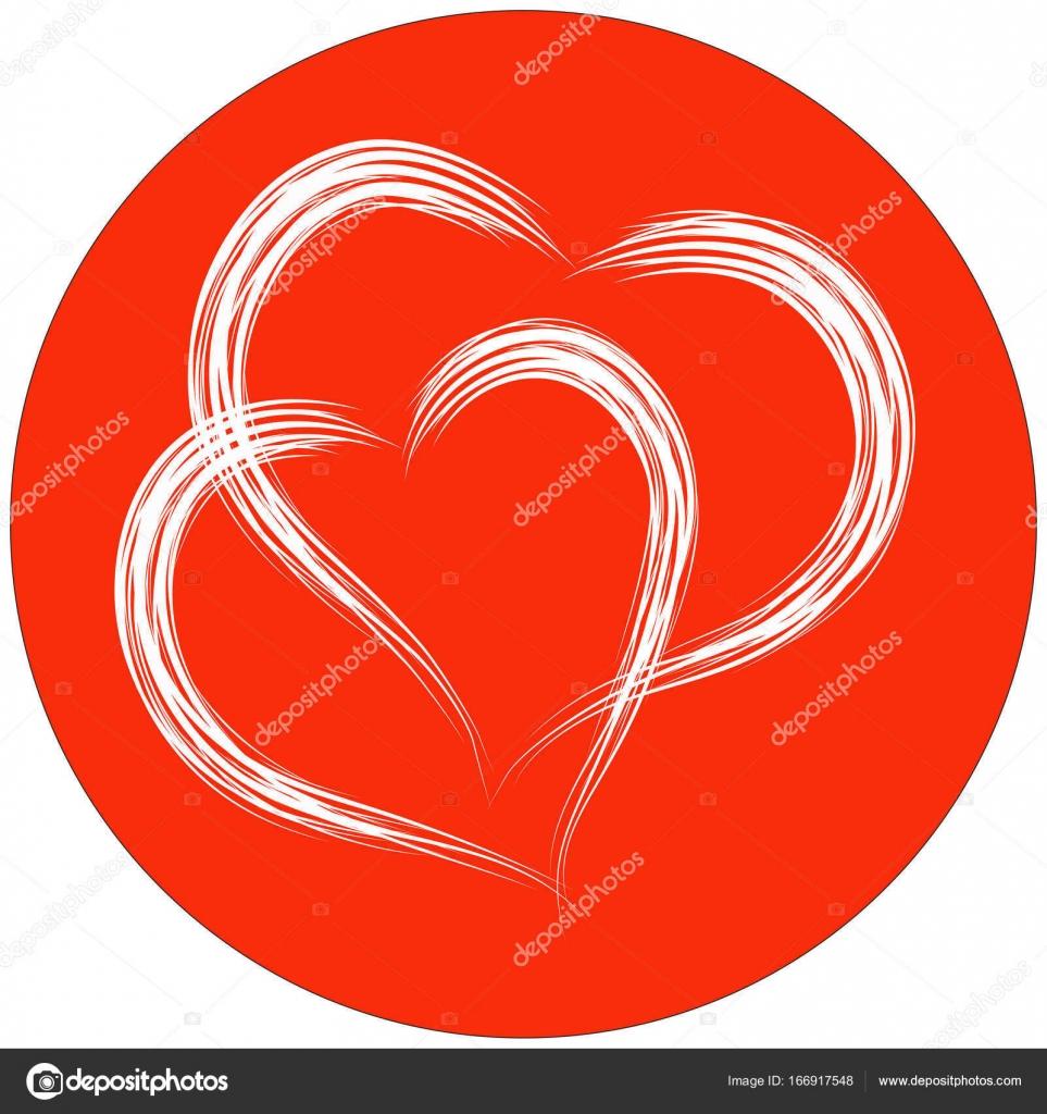 Iki Kalp şekli Fırça Boyama Kırmızı Arka Plan Daire Stok Vektör