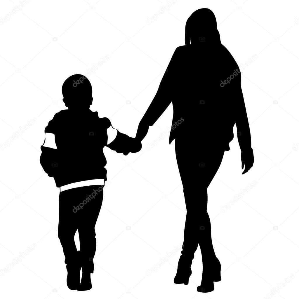 silhouette der frau und kind gehen hand in hand stockvektor dobrydnev 170138658. Black Bedroom Furniture Sets. Home Design Ideas