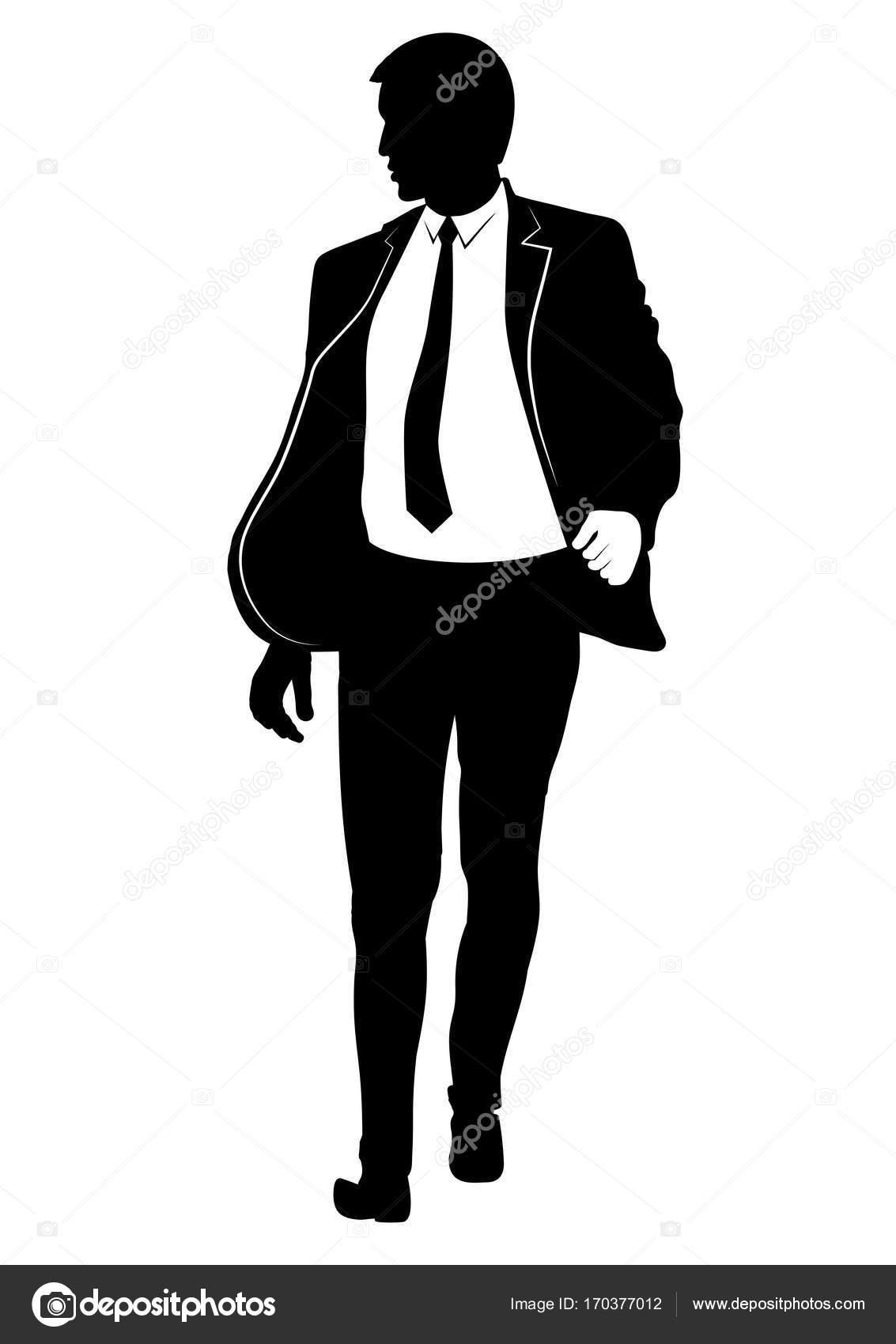 Silhouette D Un Homme Qui Marche Dans Un Costume Et Une Cravate