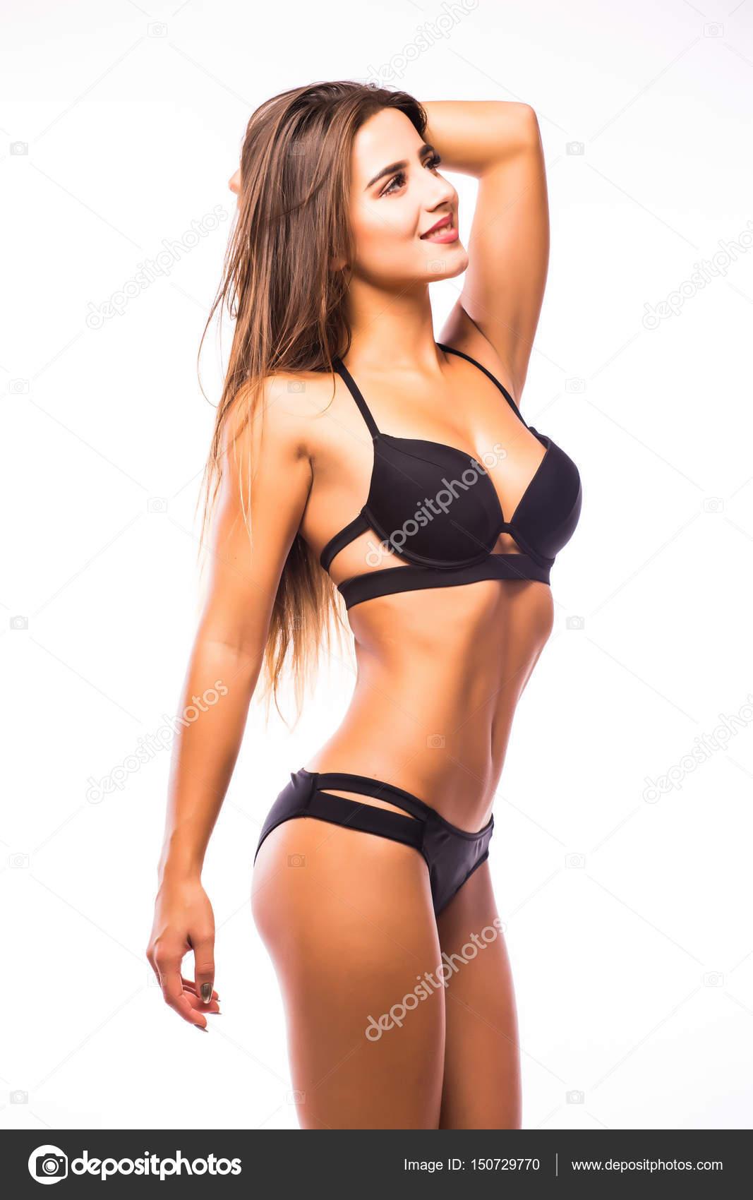 3afbaa1485 Ritratto di bella donna in lingerie sexy nero in posa su sfondo ...