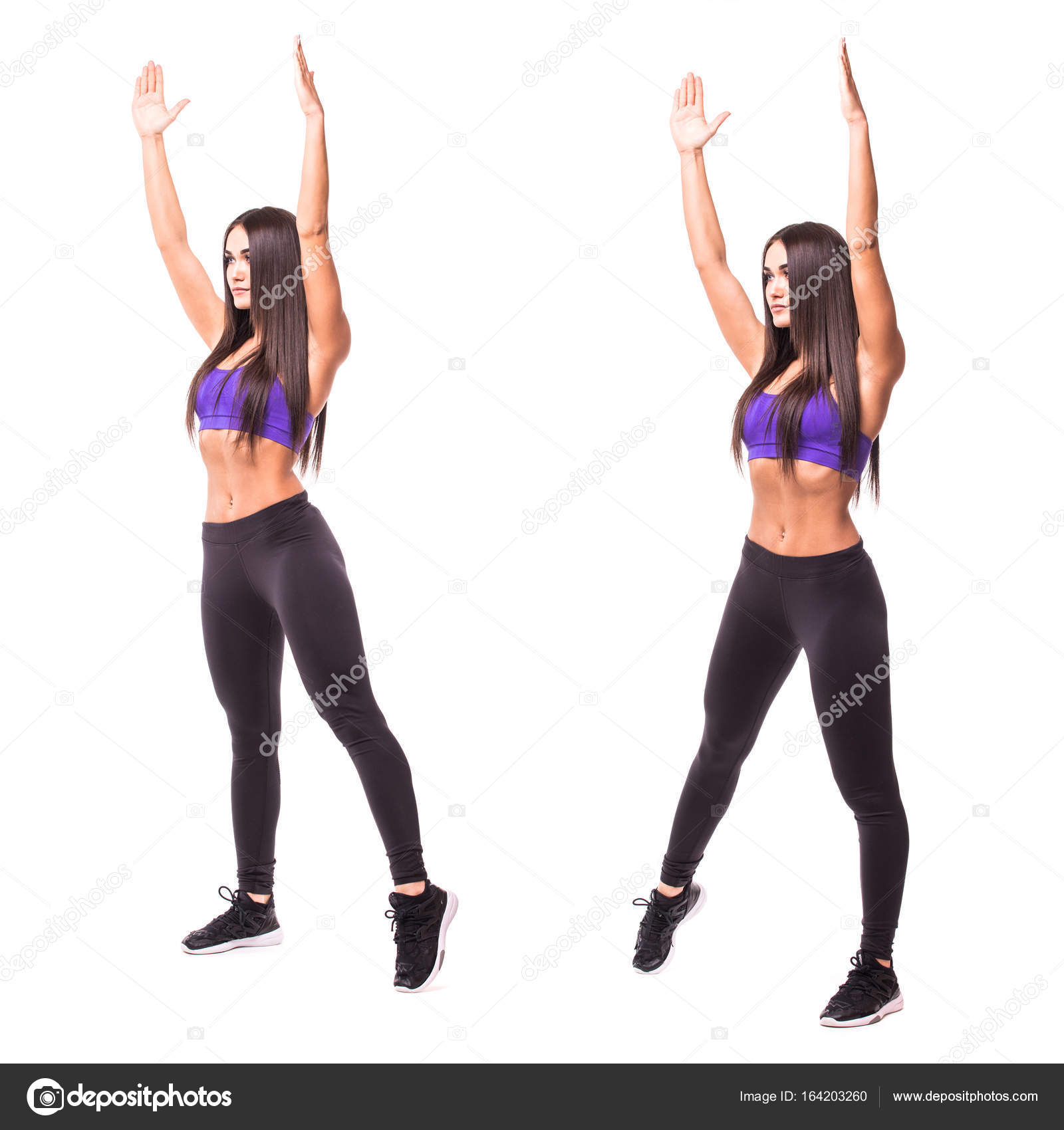 sport beauty woman do jumping jacks fitness exercises on white Jumping Jack Steps sport beauty woman do jumping jacks fitness exercises on white background woman demonstrate begin and