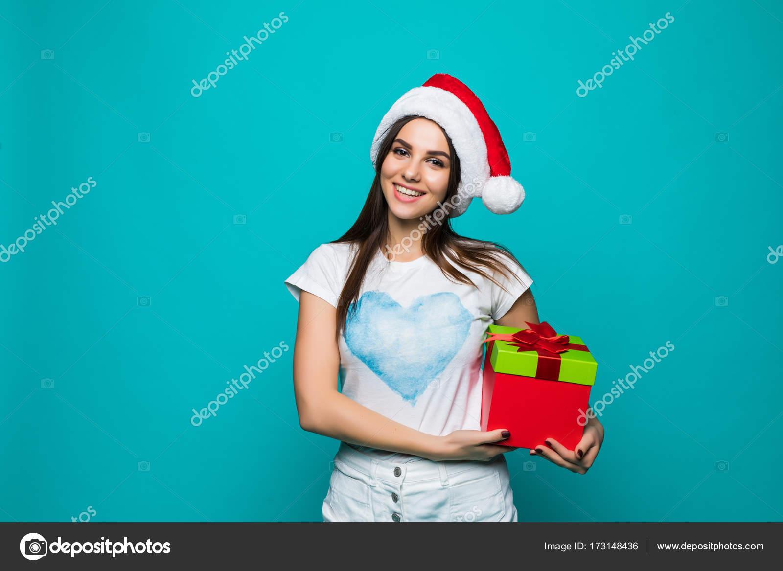 Geschenke Weihnachten Frau.Weihnachten Frau Mit Geschenk Box Schöne Brünette Mädchen In