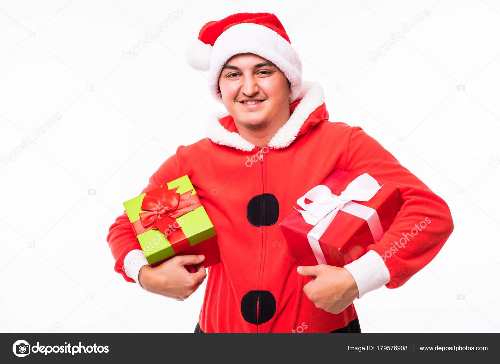 Regalo Di Natale Per Ragazzo.Babbo Natale Giovane Di Santa Con Il Regalo Di Natale