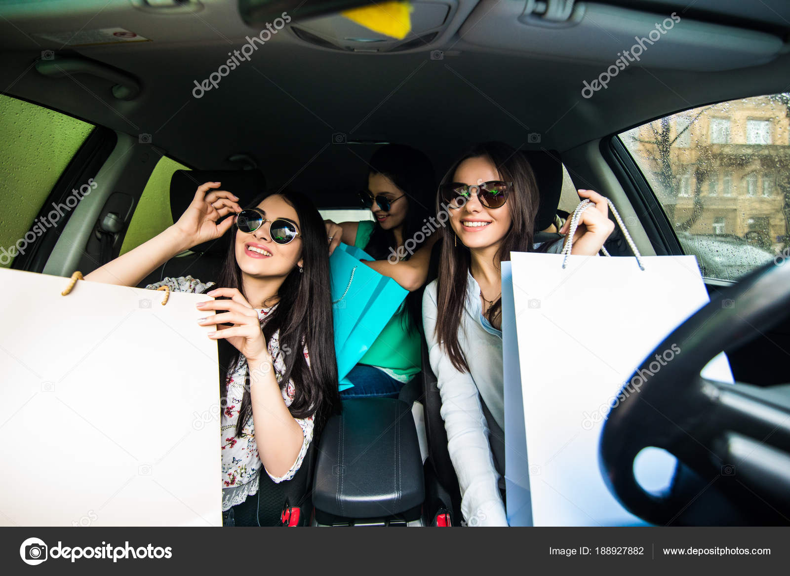 With young teen girl on car