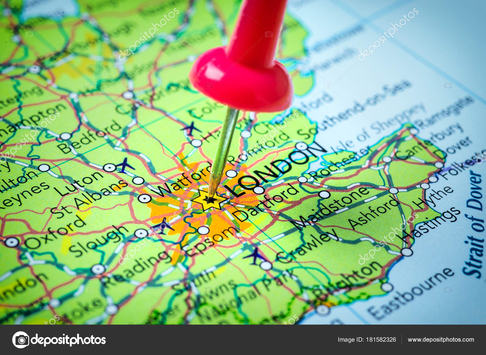 London In United Kingdom Pinned On A Map Of Europe Stock Photo